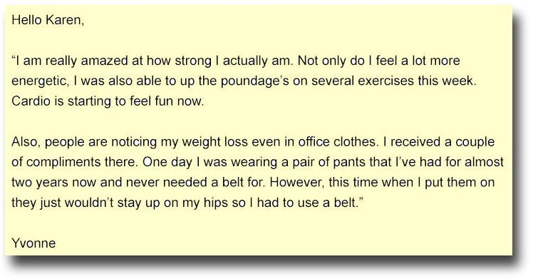 yvonnes testimonial on weight loss program