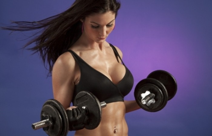 fit woman curling
