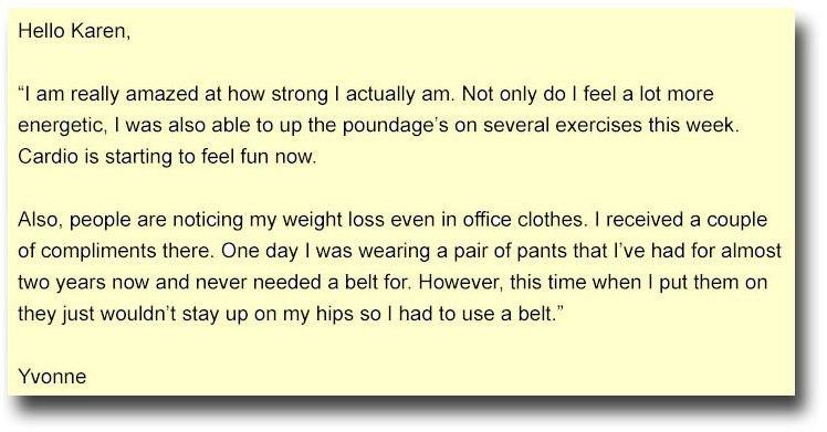 yvonnes testimonial on weight loss program