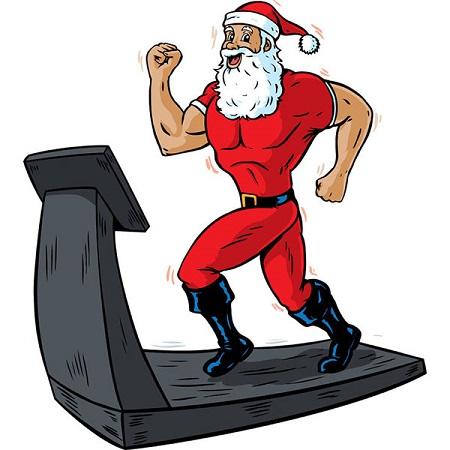 santa clause running on treaadmill