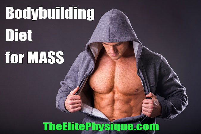 man showing muscle built by bodybuilding diet for mass