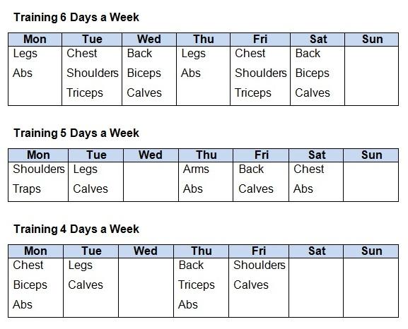 training splits for 4-6 days